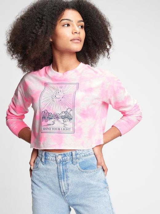 Genç Kız Pembe Teen Organik Grafik T-Shirt