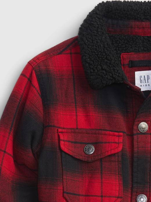 Erkek Çocuk Kırmızı Buffalo Ekose Gömlek Ceket