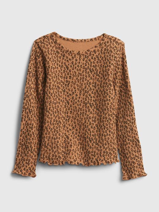 Kız Bebek Kahverengi Waffle Örme Desenli T-Shirt