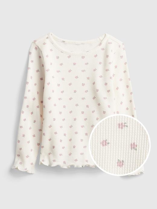 Kız Bebek Bej Waffle Örme Desenli T-Shirt