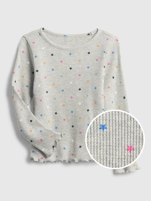 Kız Bebek Gri Waffle Örme Desenli T-Shirt