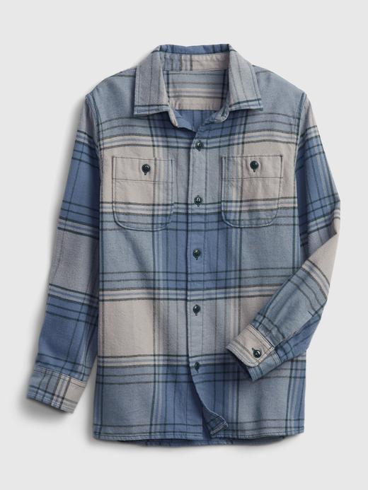 Erkek Çocuk Gri %100 Organik Pamuklu Flannel Gömlek