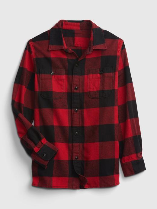 Erkek Çocuk Kırmızı %100 Organik Pamuklu Flannel Gömlek