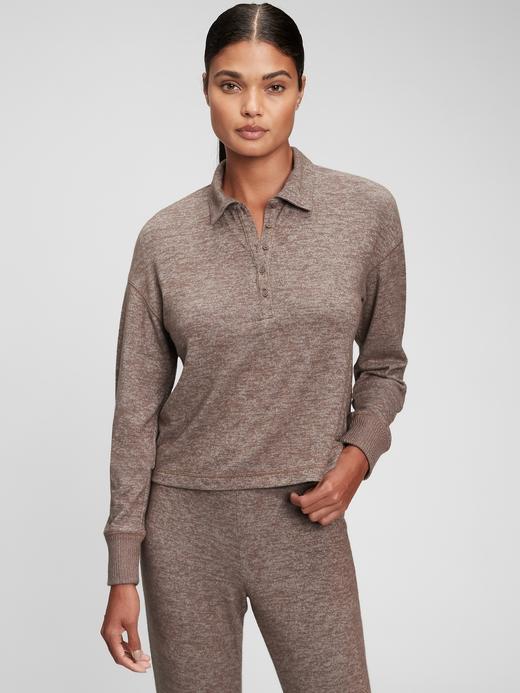 Kadın kahverengi Softspun Henley Polo T-Shirt