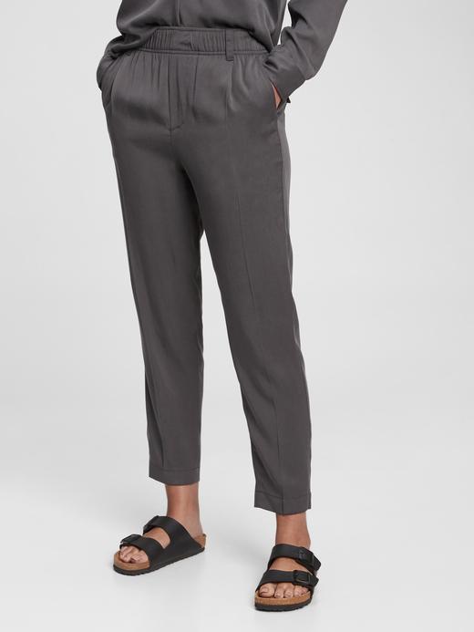 Kadın Siyah TENCEL™ Lyocell High Rise Pull On Pantolon