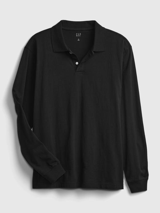 Erkek Siyah Uzun Kollu Polo T-Shirt
