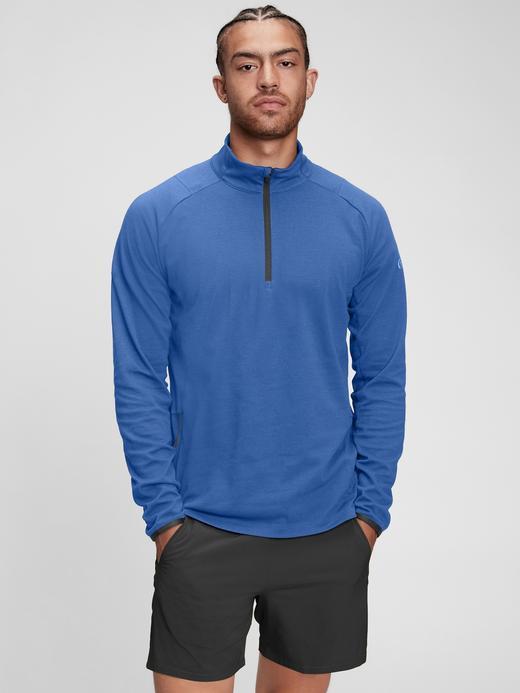 Erkek Mavi Gapfit Yarım Fermuarlı Sweatshirt