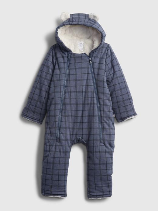 Erkek Bebek Mavi Kapüşonlu Sherpa Tulum