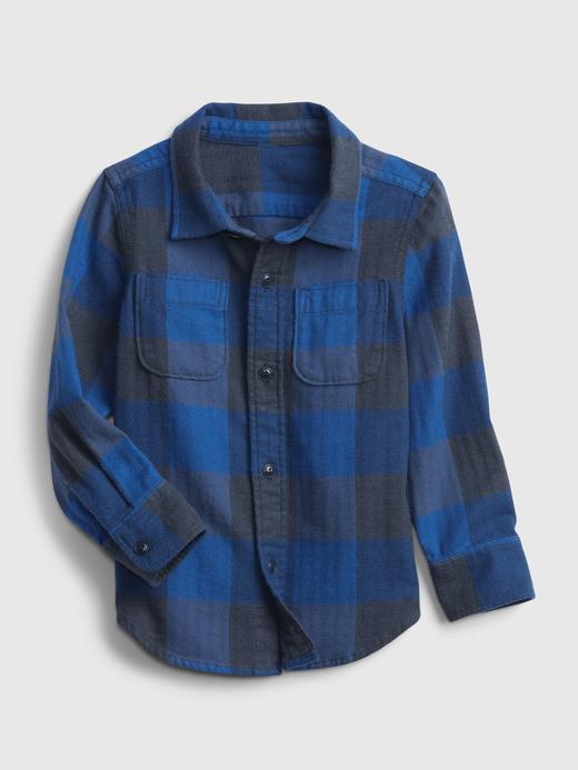Erkek Bebek Mavi %100 Organik Pamuk Kareli Gömlek