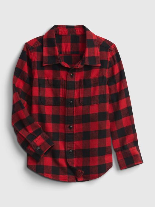 Erkek Bebek Kırmızı %100 Organik Pamuk Kareli Gömlek
