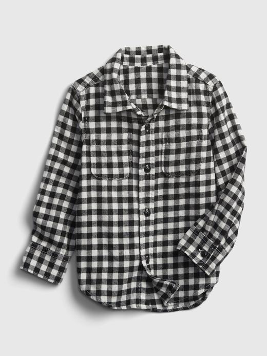 Erkek Bebek Siyah %100 Organik Pamuk Kareli Gömlek