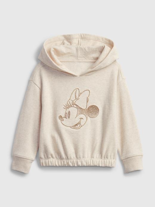 Kız Bebek Bej Disney Minnie Mouse Kapüşonlu Sweatshirt