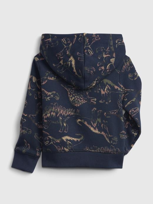 Erkek Bebek Lacivert Dinozor Desenli Gap Logo Kapüşonlu Sweatshirt
