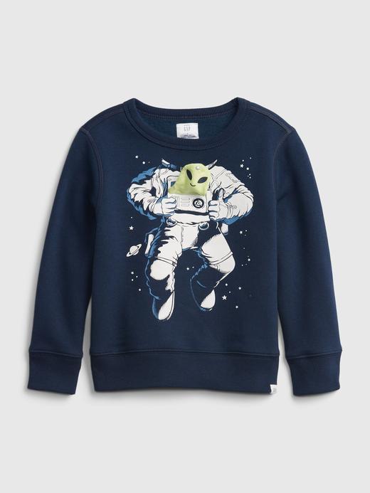Erkek Bebek Lacivert Yuvarlak Yaka 3D Grafik Sweatshirt