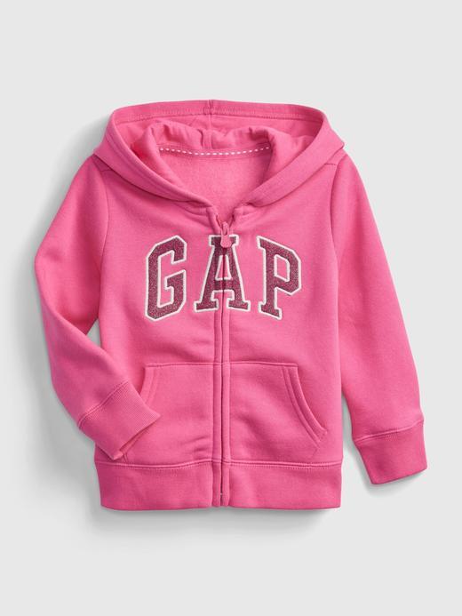 Kız Bebek Pembe Gap Logo Kapüşonlu Sweatshirt