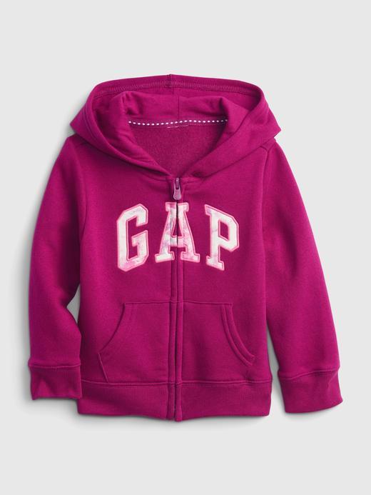 Kız Bebek Mor Gap Logo Kapüşonlu Sweatshirt
