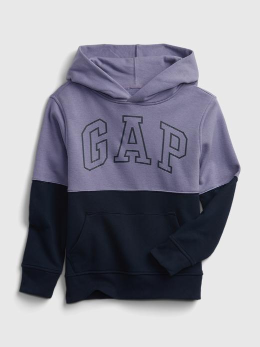 Erkek Çocuk Mavi Gap Logo Çok Renkli Kapüşonlu Eşofman Üst