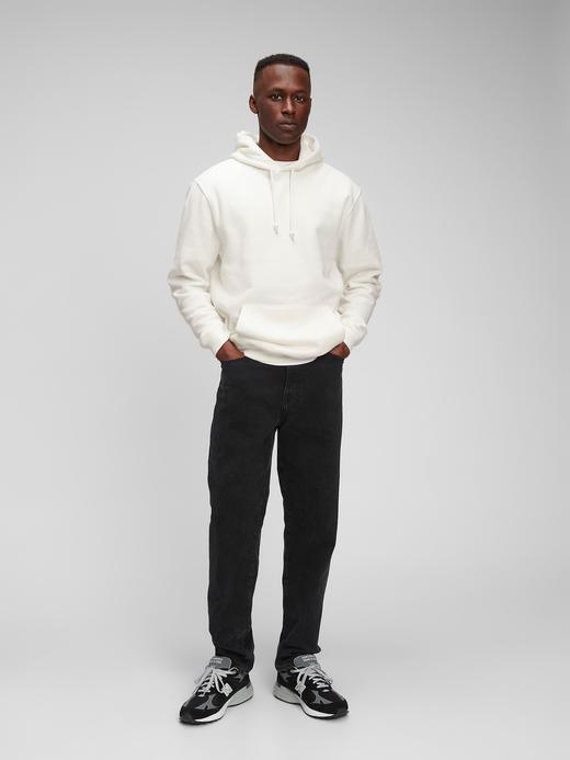 Erkek Beyaz Vintage Soft Kapüşonlu Sweatshirt