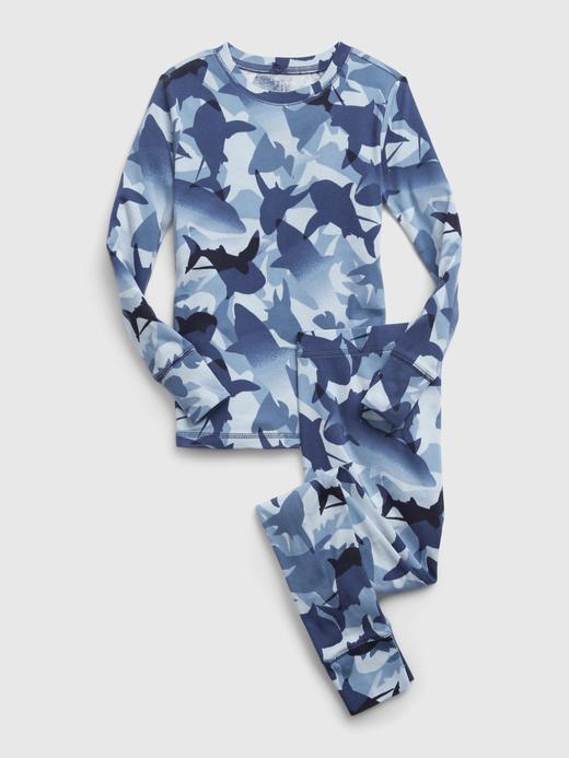 Erkek Çocuk Mavi %100 Organik Pamuk Grafik Desenli Pijama Takımı