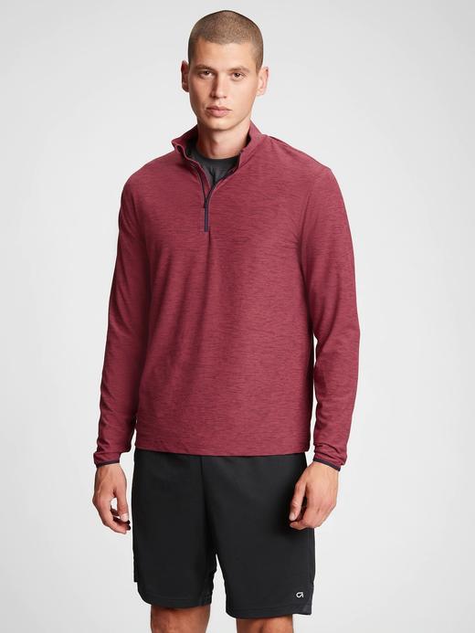 Erkek Kırmızı GapFit Yarım Fermuarlı Sweatshirt