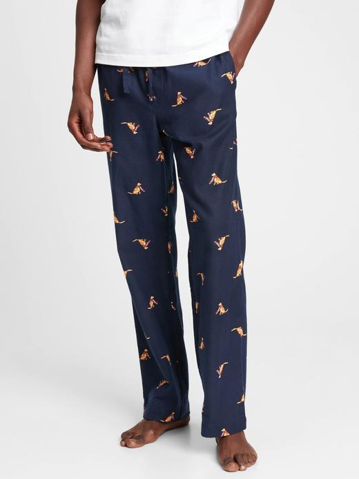 Erkek Mavi Baskılı Flanel Pijama Altı