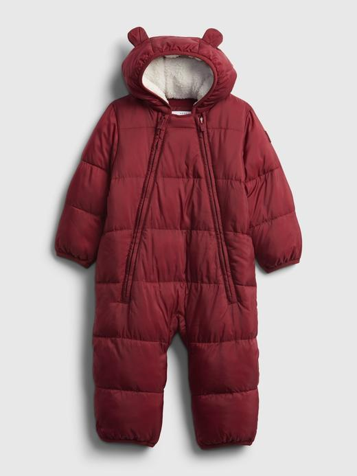 Erkek Bebek Kırmızı %100 Geri Dönüştürülmüş Puffer Şişme Tulum