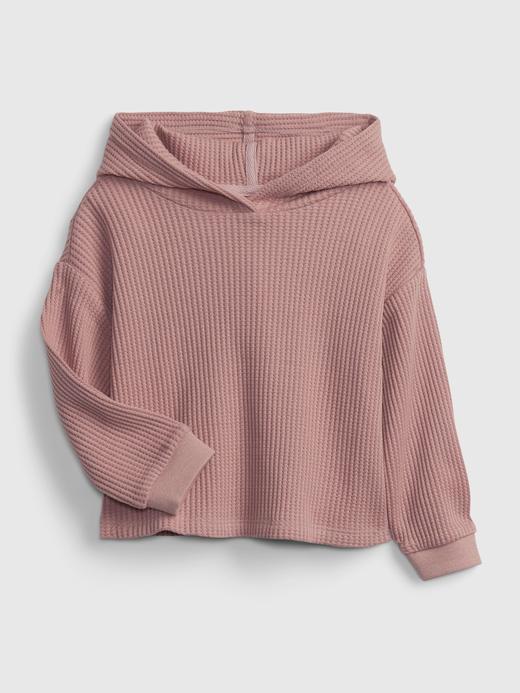 Kız Bebek pembe Waffle Örgü Kapüşonlu Sweatshirt