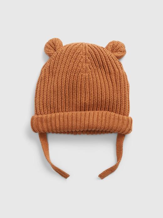 Erkek Bebek Kahverengi 3D Kulak Desenli Şapka