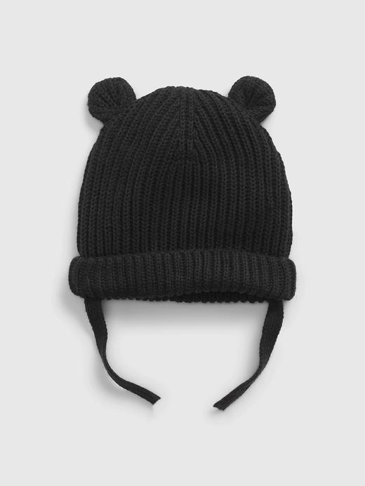 Erkek Bebek Siyah 3D Kulak Desenli Şapka
