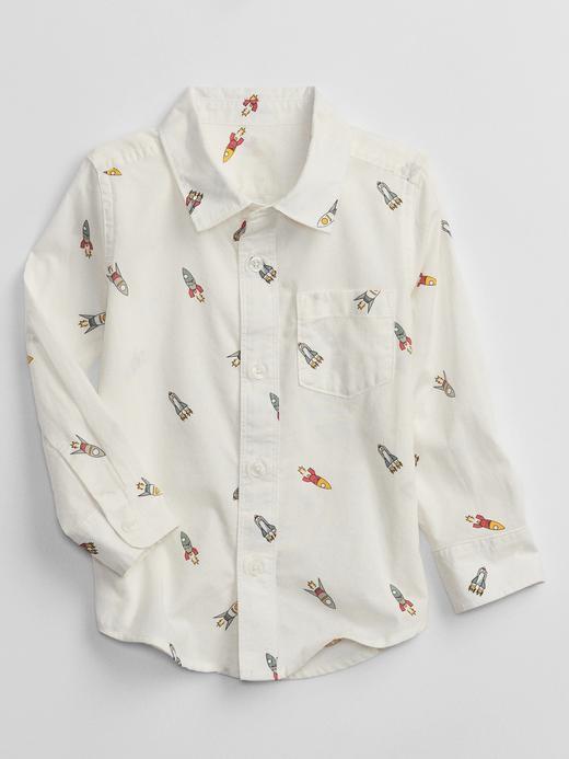 Erkek Bebek Beyaz Uzay Gemisi Baskılı Gömlek