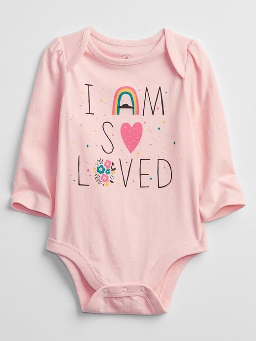 Kız Bebek pembe Grafik Desenli Bodysuit