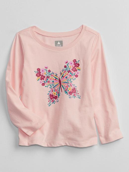 Kız Bebek Pembe Grafik Desenli Uzun Kollu T-Shirt