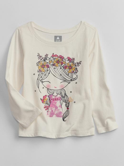 Kız Bebek Beyaz Grafik Desenli Uzun Kollu T-Shirt