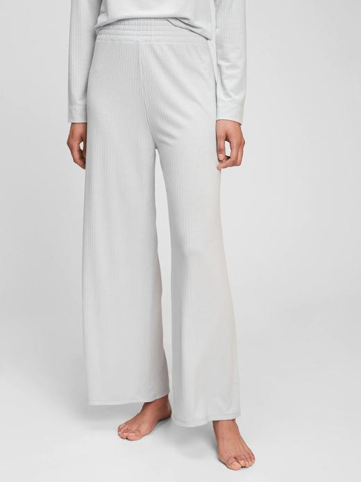 Kadın gri Ribbed Wide Leg Pantolon