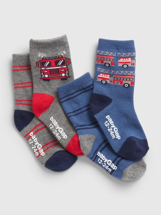 Bebek Çok Renkli 4'lü Firetruck Çorap Seti