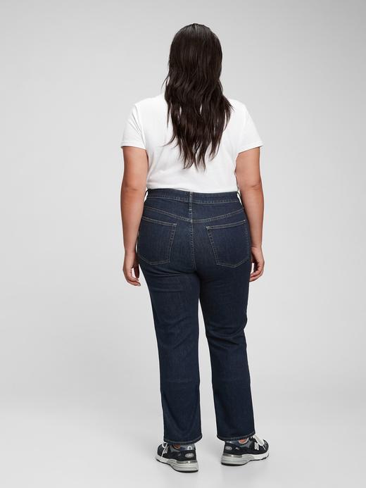 Kadın Lacivert Washwell™ High Rise Straight Leg Jean Pantolon