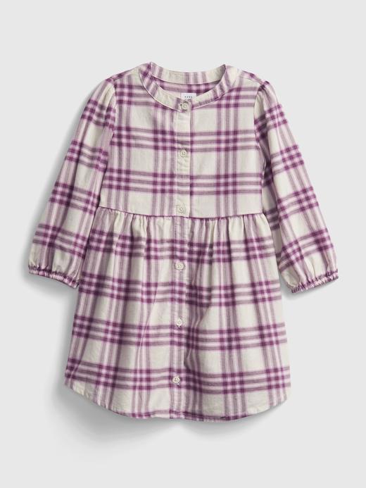 Kız Bebek Mor Ekose Uzun Kollu Elbise