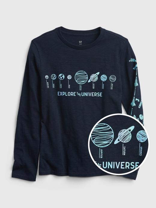 Erkek Çocuk Lacivert Grafik Desenli Yuvarlak Yaka T-Shirt