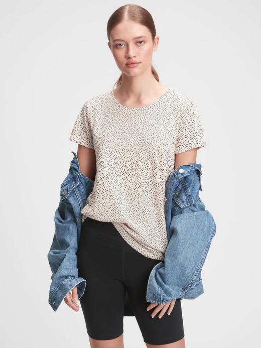 Kadın Bej Favorite Desenli Yuvarlak Yaka T-Shirt
