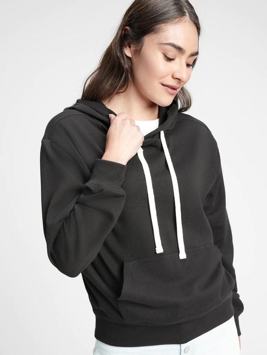 Kadın Siyah Kapüşonlu Polar Sweatshirt