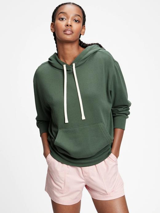 Kadın Yeşil Kapüşonlu Polar Sweatshirt