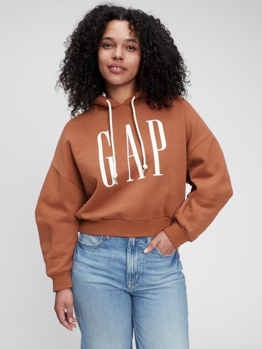 Kadın Kahverengi Gap Logo Crop Sweatshirt