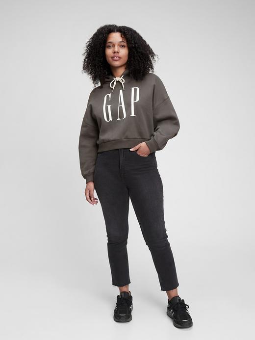 Kadın Siyah Gap Logo Crop Sweatshirt
