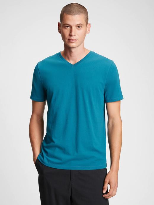 Erkek Mavi V Yaka Kısa Kollu T-Shirt