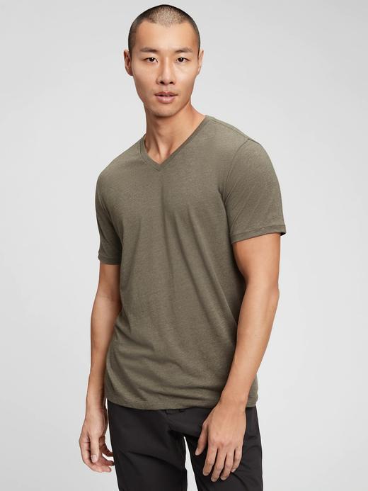 Erkek Yeşil V Yaka Kısa Kollu T-Shirt