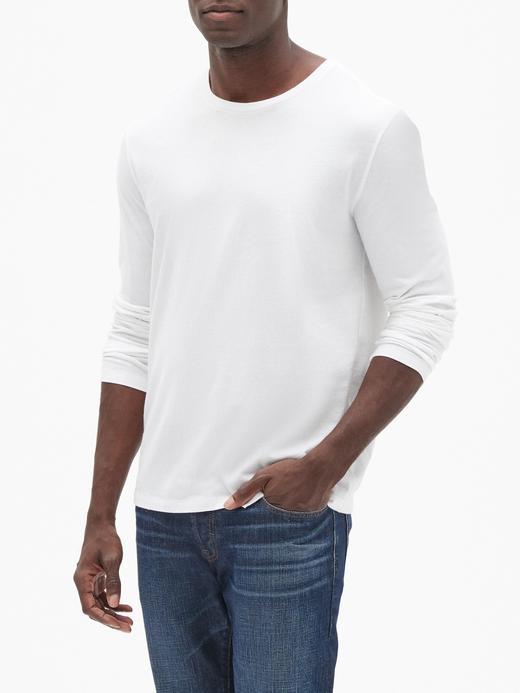 Erkek Beyaz Yuvarlak Yaka Uzun Kollu T-Shirt
