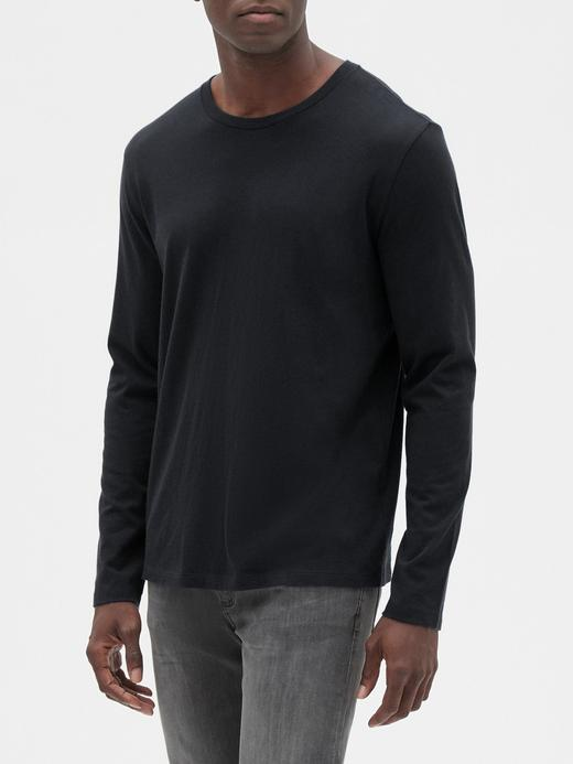 Erkek Siyah Yuvarlak Yaka Uzun Kollu T-Shirt