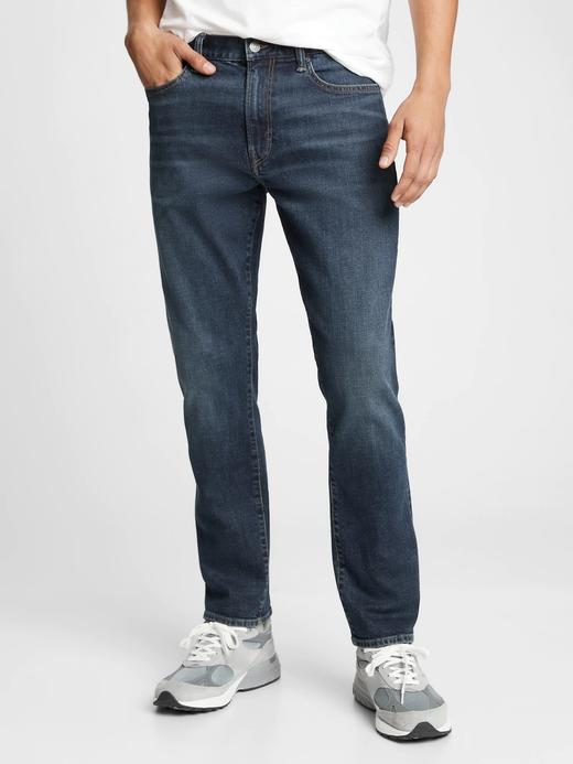 Erkek Lacivert GapFlex Straight Taper Washwell™ Jean Pantolon