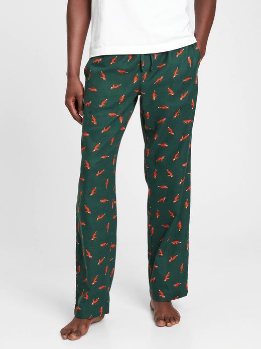 Erkek Yeşil Baskılı Flanel Pijama Altı