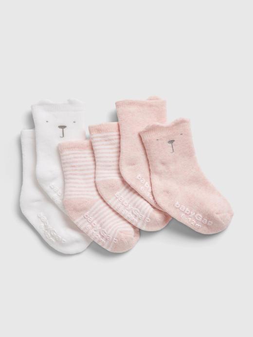 Erkek Bebek Pembe %100 Organik Pamuk 3'lü First Favorite Çorap Seti
